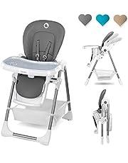 Lionelo Linn Plus barnstol baby barn barnstol från 6 månader barnstol kan belastas med 15 kg barnstol baby med liggfunktion många tillbehör (grå)