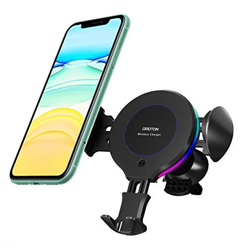 OMOTON Caricatore Wireless Auto per Cellulari Qi, Supporto Telefono con Ricarica Rapida per 11 PROMax/XS/X/XR/8+/, Samsung Note S20/20 Plus/Note 10/S10+/S10/Huawei Mate P30/P30 PRO e Altri