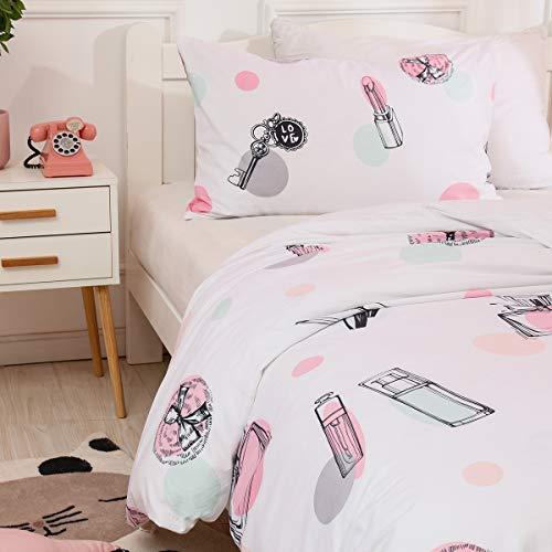 AShanlan Mädchen Kinder Bettwäsche 135x200 Rosa Grün Grau Punkte auf Weiß Beauty Motiv 100%...