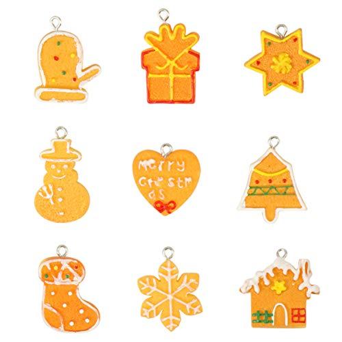 MILISTEN 20 Piezas de Resina de Navidad Adornos de Espalda Plana Adornos Santa Árbol de Navidad Estrella Muñeco de Nieve Encantos para Manualidades de Bricolaje Adornos Navideños Encantos