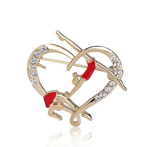 Gimnasia Roja Niñas Brooch Oro-color Pines Esamel Brooches para Mujeres Niños Collar Traje Bufanda Accesorios Joyería