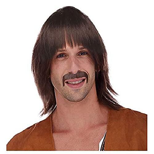 Peluca hippie marrón de los años 60 para hombre peluca sonny y disfraz de bigote peluca sonny