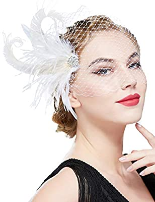 BABEYOND 1920s Flapper Fascinator Tea Party Kentucky Derby Fascinator Hair Clip Peacock Feather Headpiece with Veil for Cocktail Wedding