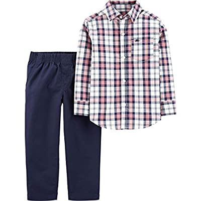 Carter's Boys' 2 Pc Playwear Sets 249g395 (12 Months, Pale Red/Navy Plaid)