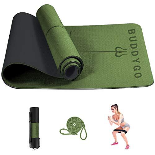 BUDDYGO Esterilla de gimnasia y pilates, con correa de transporte, líneas de alineación y esterilla de yoga antideslizante de TPE, 183 x 61 x 0,6 cm