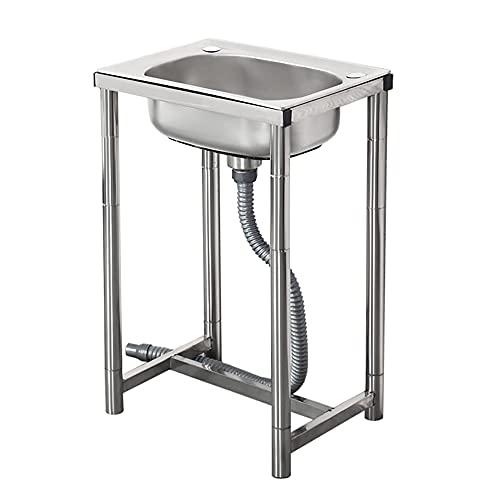 Fregadero de cocina comercial, fregadero de acero inoxidable independiente con soporte, lavabo de cocina para bar en casa, restaurante / plateado
