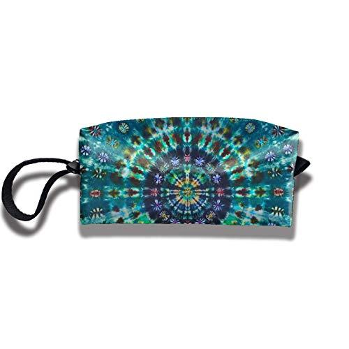 Travel Makeup Bag 2.5x3.5x9 in Shadidi Men Tie Dye Circle Floral Travel Cosmetic Bag Organizer Coin Purse Pencil Case Portable Receive Bag