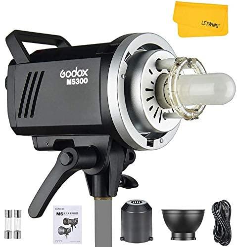 Godox MS300 Compact 300Ws LED Video Light, 5600K 2.4G Wireless X System, 0,1-1,3s Recyclingzeit, mit Bowens Mount 150W Einstelllampe für Studiofotografie,...