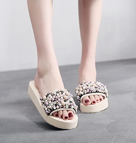 Zapatillas De Casa para Mujer Verano,Femenina Ropa De Verano Costa Mayor Pendiente con Pimienta Playa-EU 37 (235mm / 9.25')_f