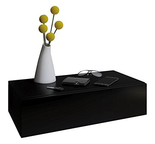 VCM Blado Maxi Wandregal/Wandschrank/Wandschublade mit schublade Nachttisch, Holzdekor, Schwarz, 15 x 60 x 31.5 cm