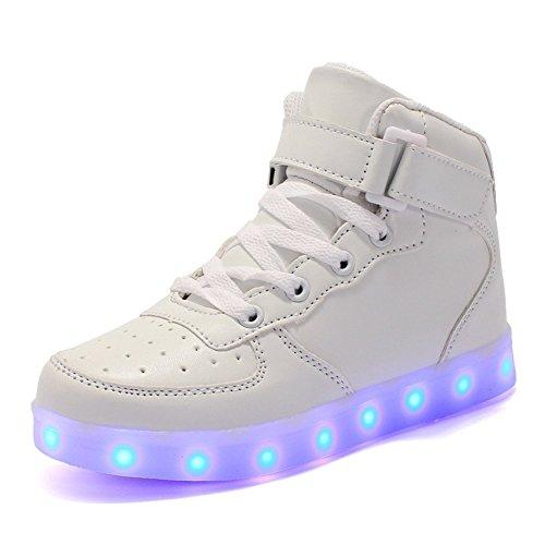 Licy Life-UK Kinder Junge Mädchen 7 Farbe USB Aufladen LED Hoch-Oben Schuhe Leuchtend Sportschuhe Farbwechsel Sneaker Turnschuhe für Junge Mädchen Geburtstagsgeschenk