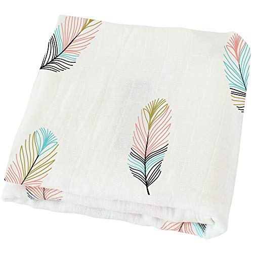 "LifeTree Muslin Swaddle Blankets,""Feather Print"" Bamboo Cotton Baby Swaddle Wrap for Boys and Girls, Gender Neutral Baby Blanket, Burping Cloth & Stroller Cover"