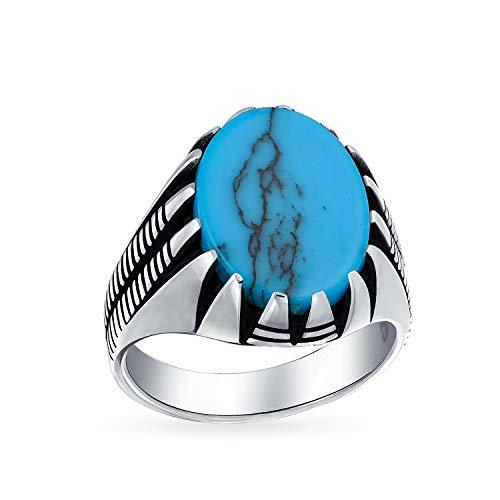 Herren Kralle Einstellen Große Ovale Cabochon Edelstein Blau Türkis Siegelringe Für Männer Solide Oxidiert 925 Silber Handgefertigt In Der Türkei