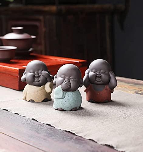 Mini Thai Buddha zen statyer, söt Buddha munkstatyer, munkfigur skulptur hantverk ornament gåva delikat keramik, konst och hantverk, tetillbehör