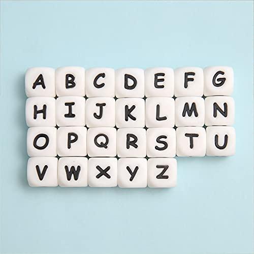 Mamimami Home 26pc Alphabet Letter Food Grade Silikon Kauen Perlen für Zahnen Halskette In 26 Buchstaben Silikon Buchstaben Perlen