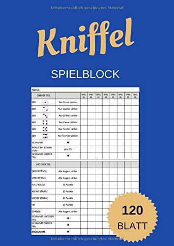 Kniffel Block: A4 Groß Würfelspiel Gewinnblatt Block   120 Blatt   Block für Würfelspiel   Yatzy Blöcke   Knife Blocks Spielblock   Spiele Familienspiele (German Edition)