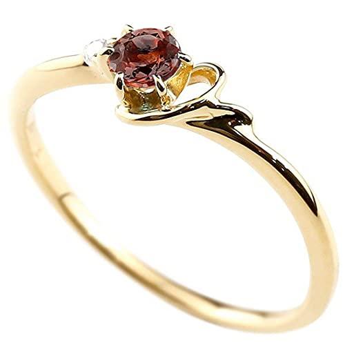 [アトラス]Atrus 指輪 レディース 10金 イエローゴールドk10 ガーネット ダイヤモンド イニシャル ネーム Y ピンキーリング 華奢 アルファベット 1月誕生石 22号