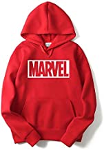 THE SV STYLE Unisex RED Hoodie with White Print: Marvel/Printed Red Hoodie/Graphic Printed Hoodie/Hoodie for Men & Women/Warm Hoodie/Unisex Hoodie
