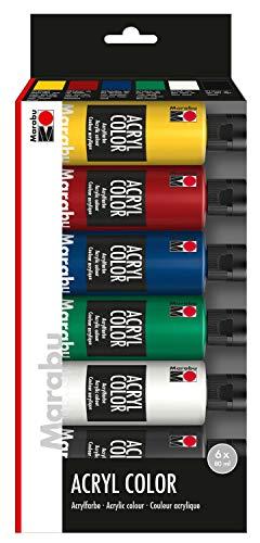 Marabu 1201000000080 - Acryl Color Set, 6 x 80 ml in mittelgelb, karminrot, mittelblau, saftgrün, weiß und schwarz, hochwertige, seidenmatte Acrylfarbe, Wasserbasis, schnell trocknend, gute Deckkraft