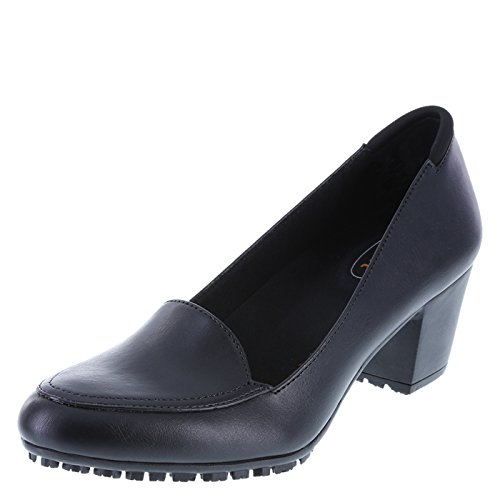 safeTstep Black Women's Slip-Resistant Brittany Block Heel 7 Wide