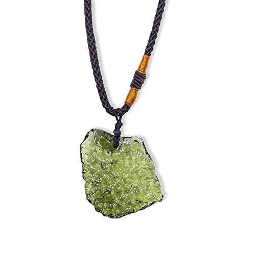Collar De Cristal De Moldavita, Colgante De Piedra Verde Irregular, Collar De...
