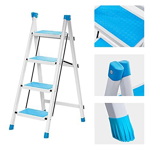 Escalera 4 Peldaños Anchos, Altura De Trabajo: 88cm, Multifunción Escalera 4 Peldaños Ligera, Escalera 4 Peldaños Plegable Para Jardines, Almacenes, Talleres, Cocinas (Color : A)