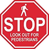 'Stop Look Out for Pedestrians'- Durable Laminated Vinyl Floor Sign- (Various Sizes Available) Sign by Graphical Warehouse- 5S Safety and Security Signage, Visual Communication Tool (12')