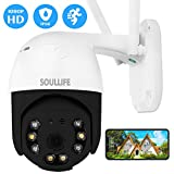 SoulLife Security Camera Outdoor, 1080P HD Home Surveillance IP Camera with Pan/Tilt 360° View Waterproof Night Vision 2-Way Audio Motion Detection Activity Alert Support Max 128G SD Card