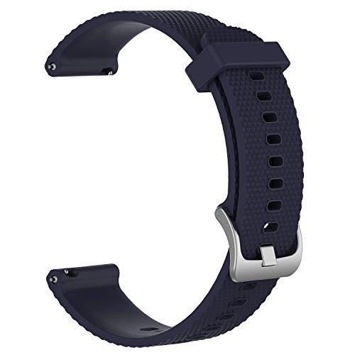 AumoToo Ersatz-Armband für Garmin vivoactive 3/ vivomove/ vivomove HR Fitness-Uhr, 20mm, verstellbar, weich, Silikongurt schnell-öffnendes Ersatz-Armband, Herren, marineblau, S