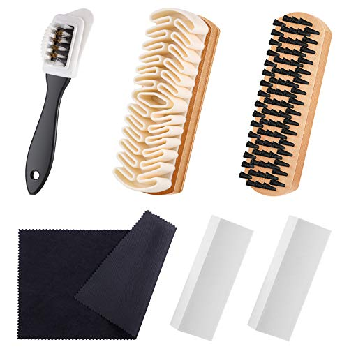 6 Pieces Suede and Nubuck Brushes Kit Includes 1 Bristle Brush, 1 Crepe Suede Brush, 1 4-Way Shoe Brush, 2 Suede Erasers and 1 Microfiber Buffing Cloth for Cleaning Leather Shoes, Boots, High Heels