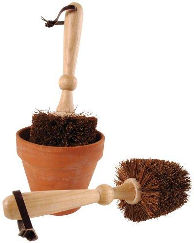 Esschert Design Blumentopf, Übertopf Bürste, Reinigungsbürste, rund, ca. 11 cm x 11 cm x 29 cm