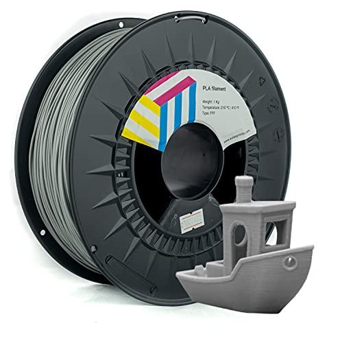 Eolas Prints Basics | Filamento PLA 1.75 | Stampante 3D PLA Plus | Adatto per uso alimentare | Bobina leggera | 1,75 mm | Bobina 1 kg | Grigio