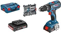 Bosch Professional 18V System Taladro percutor a batería GSB 18V-28 (torsión máxima: 63 Nm, incl. 35 pcs. Juego de accesorios de impacto, 2x 2.0 Ah batería, en L-BOXX 136) - Amazon Edición