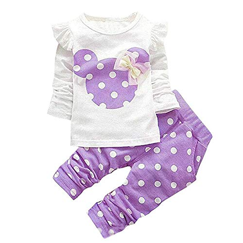 Cute Toddler Baby Girls Clothes Set Long Sleeve T-Shirt and Pants Kids 2pcs Outfits (Purple, 18-24 Months)