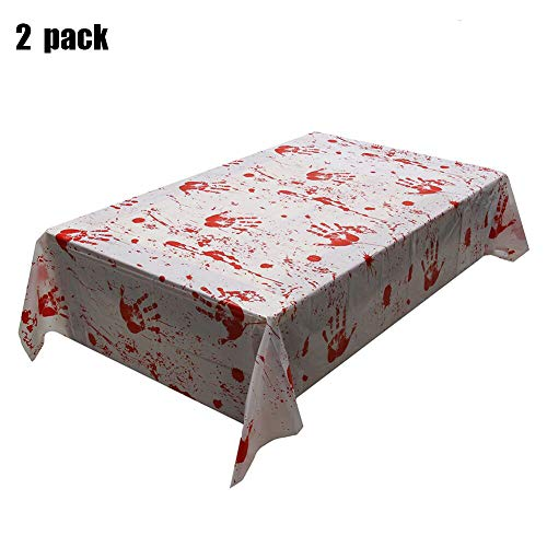 XXlong 2 Pack Halloween Bloody Tablecloth Bloodstain Blood Drip Handprint Table Cover for Halloween Party Supplies Decoration Spooktacular Creations,Tablecloth