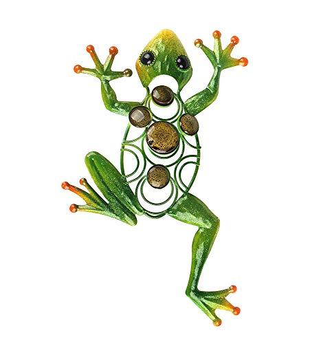 Liffy-Frosch Wanddekor im Freien Metall Kunst Dekorative Glasskulptur Grün für Garten