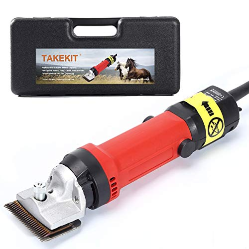 TAKEKIT Horse Clippers Professional Electric Animal Grooming Kit for Horse Equine Goat Pony Cattle and Large Thick Coat Dogs, 6 Speeds Heavy Duty Farm Livestock Haircut Trimmer, 380W