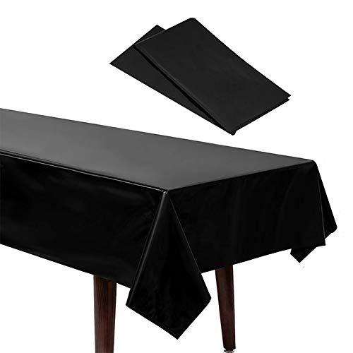 2 Pcs Schwarz Tischdecken, Wachstuch Tischdecke, Wasserdicht und Abwaschbar, Tischdecke aus Baumwolle für Jede Party, Catering, Vereinsfeier, Hochzeit, Geburtstagsfeier (108in *54in)