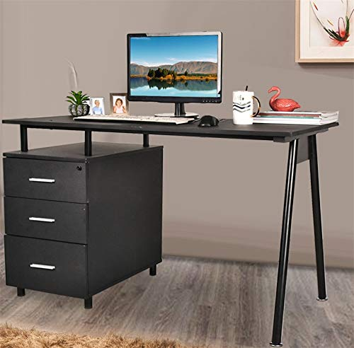 Grepatio Computer Desk with 3 Drawers Modern Wood Desk with Steel Frame for Small Spaces Home Office Workstation Student Study Table Black