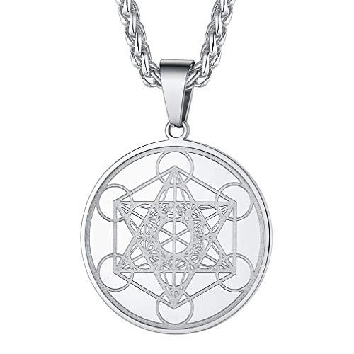 FaithHeart Collar Cubo Metatrón Angel Judío Colgante Circular Medalla Plateado con Cadena Ajustable Fina 3mm Joyería Religiosa para Hombres Caballeros