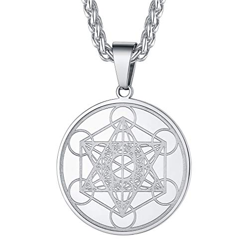 FaithHeart Metatron's Cube Necklace for Men Sacred Geometry Medal with Stainless Steel Chain Mystical Cube Necklace