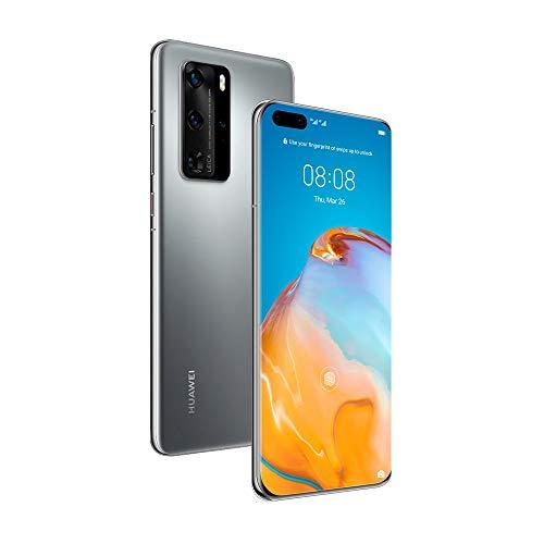 "Huawei P40 PRO - Smartphone 6.58"" OLED, Quad Cámara Trasera 50 MP, 8 GB RAM + 256 GB ROM, EMUI 10. 1, Kirin 990 5G, Desbloqueado, Color Plata Glacial"