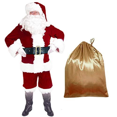 EOZY 10Pcs Costume Déguisement Père Noël pour Adulte Costume Père Noël Déguisement Vêtement Habit Complet Rouge Noël Party Déguiser (XL: Stature 165-175cm)