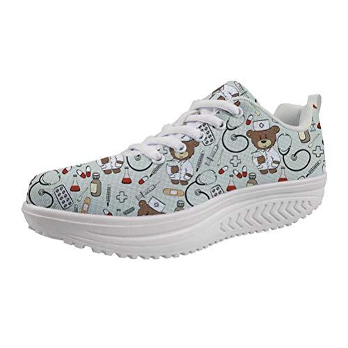 POLERO Schaukelschuhe Damen erhöhte Schnürer Plateau mit Keilabsatz Krankenschwester Schuhe Cartoon Nurse Bear Shoes 36-41 EU