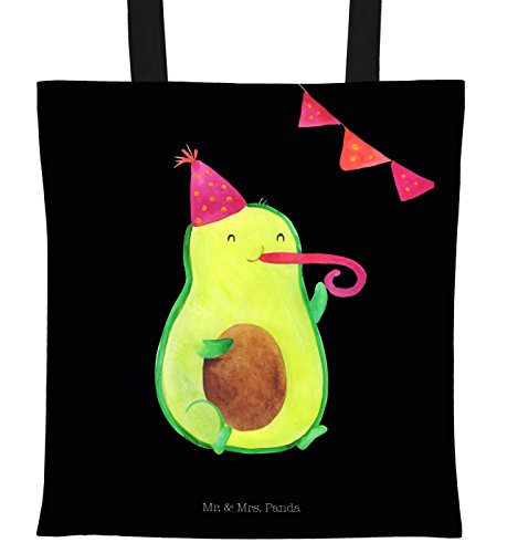 Mr. & Mrs. Panda Beutel, Jutebeutel, Tragetasche Avocado Party - Farbe Schwarz