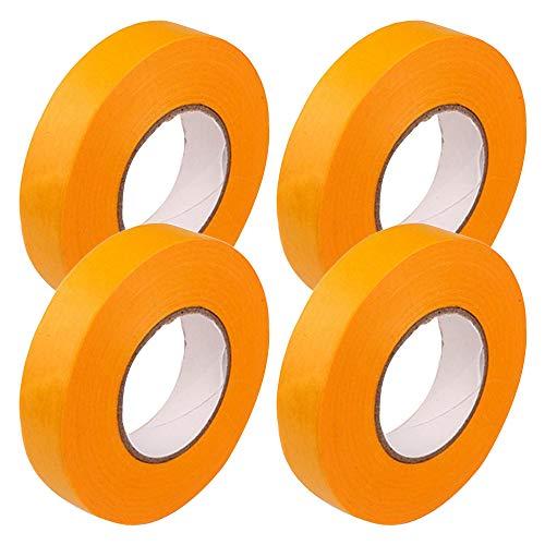 塗装用 マスキングテープ 幅18mm×長さ20m 4巻セット 車用 手芸用 仮止めテープ 養生テープ プラモデル塗装 建築塗装 黄色