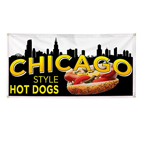 Vinyl Banner Multiple Sizes Chicago Style Hot Dog Restaurant Cafe Bar A Restaurant & Food Outdoor Weatherproof Industrial Yard Signs Brown 4 Grommets 12x30Inches