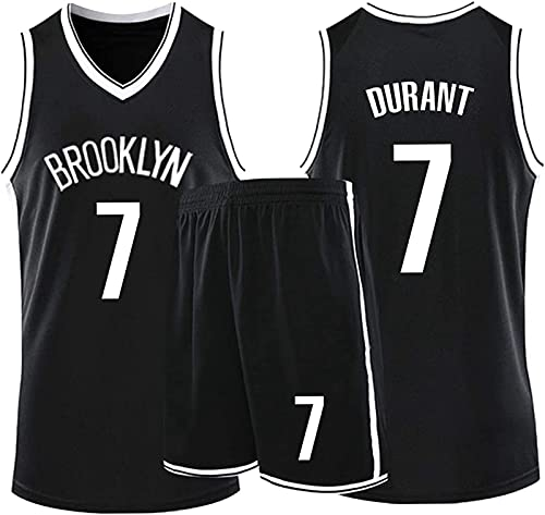 Camiseta de baloncesto para hombre conjunto para niños adultos, NBA Nets # 7 Kevin Durant niños niñas de competición camiseta y pantalones cortos malla tela transpirable ropa deportiva,Negro,4XL