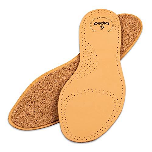 biped Ledereinlegesohlen mit echtem Naturkork – Einlegesohlen aus pflanzlich gegerbtem Leder -Korksohlen gegen Schweißfüße - für Damen und Herren Schuhe z2229(43)