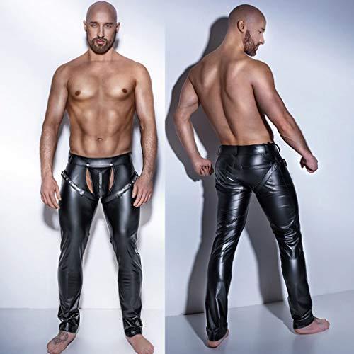 KILLM Pantalones de Hombre Entrepierna Abierta Leggings de látex de Cuero de Poliuretano Pantalones de Fitness para lápiz Taniec Na Rurze Clubwear Gay Sexy Wetlook,Negro,L